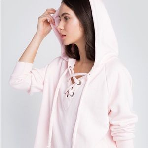 NWT WILDFOX Hutton Lace-Up Hooded Pink Sweatshirt